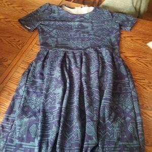 Lularoe Amelia blue&green dress sz 2xl